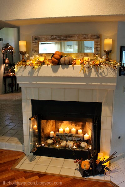 Image result for autumn fireplace mantel decorations