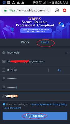 cara daftar di Aplikasi WBFEX Android