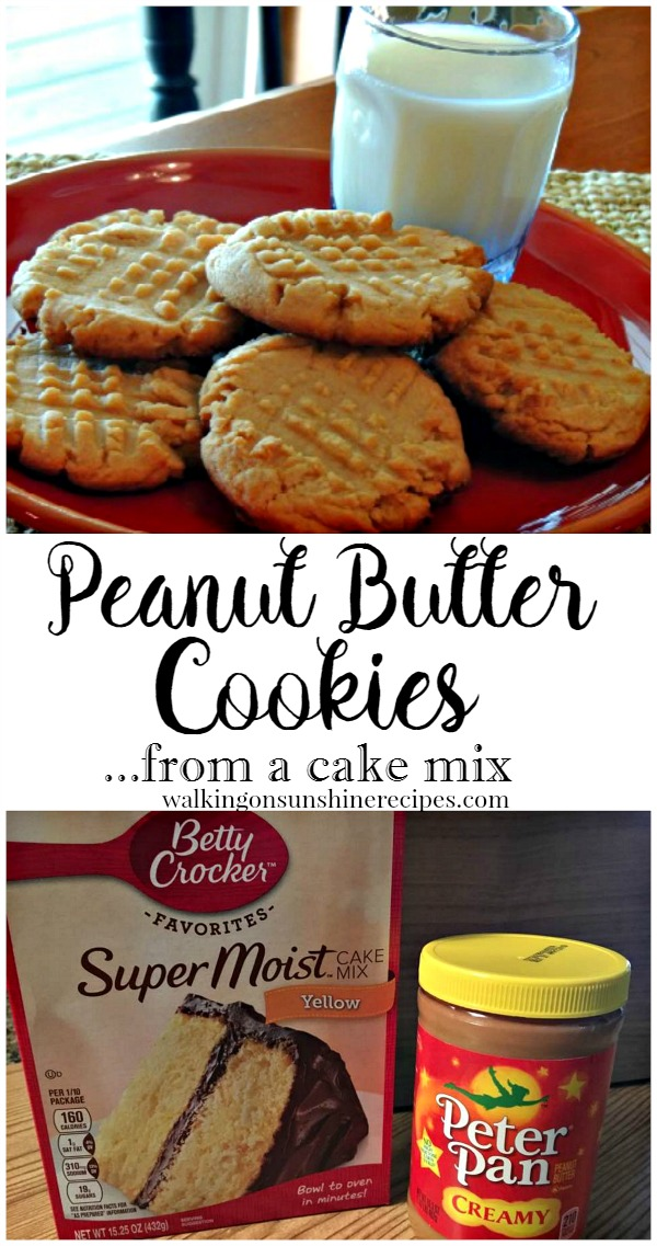Peanut Butter Cookies from a Cake Mix from Walking on Sunshine