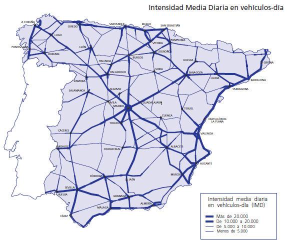 DATOS SOBRE DENSIDAD DE CARRETERAS DE ESPAÑA