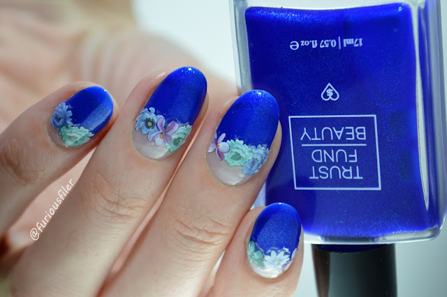 negative spave floral stickers deco it nails blue