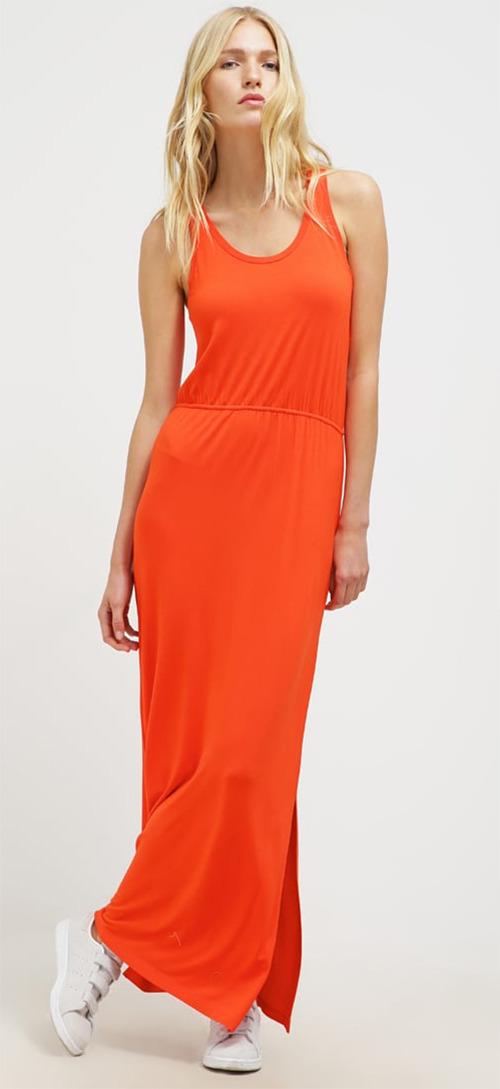 Robe longue d'été orange Vila