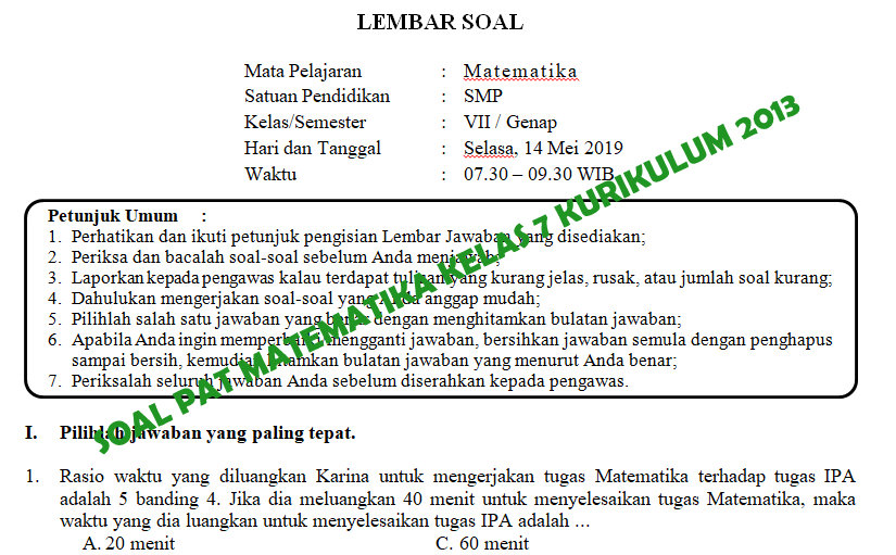 Soal Dan Kunci Jawaban Pat Matematika Smp Kelas 7 Kurikulum 2013 Tahun Pelajaran 2018 2019 Didno76 Com