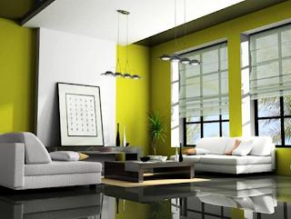 Contoh Desain Interior Ruang Tamu Dengan Kombinasi Dua Warna