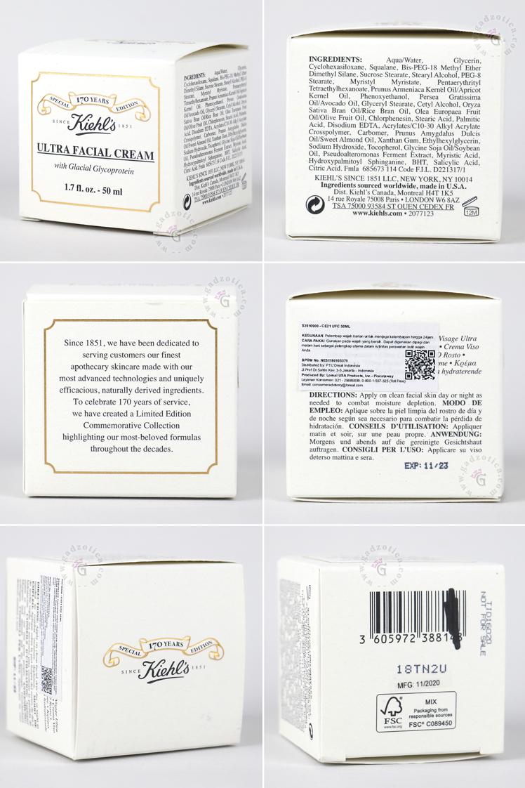 Ingredients Kiehl's Ultra Facial Cream