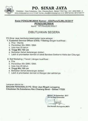 Lowongan Kerja PO Sinar Jaya