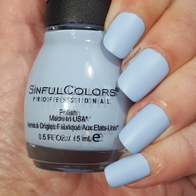 Pale blue colored nail polish with a matte finish