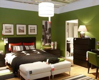 Dormitorio verde marrón