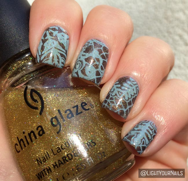 L'Oreal Mysterious Icon + Harunouta L008 stamping plate brown and blue nail art