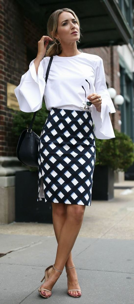 GINGHAM PENCIL SKIRT + BELL SLEEVE BLOUSE