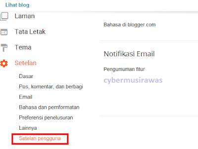 Cara setting setelan Pengguna Blogger