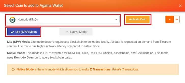 Configurar y abrir monedero oficial Komodo KMD
