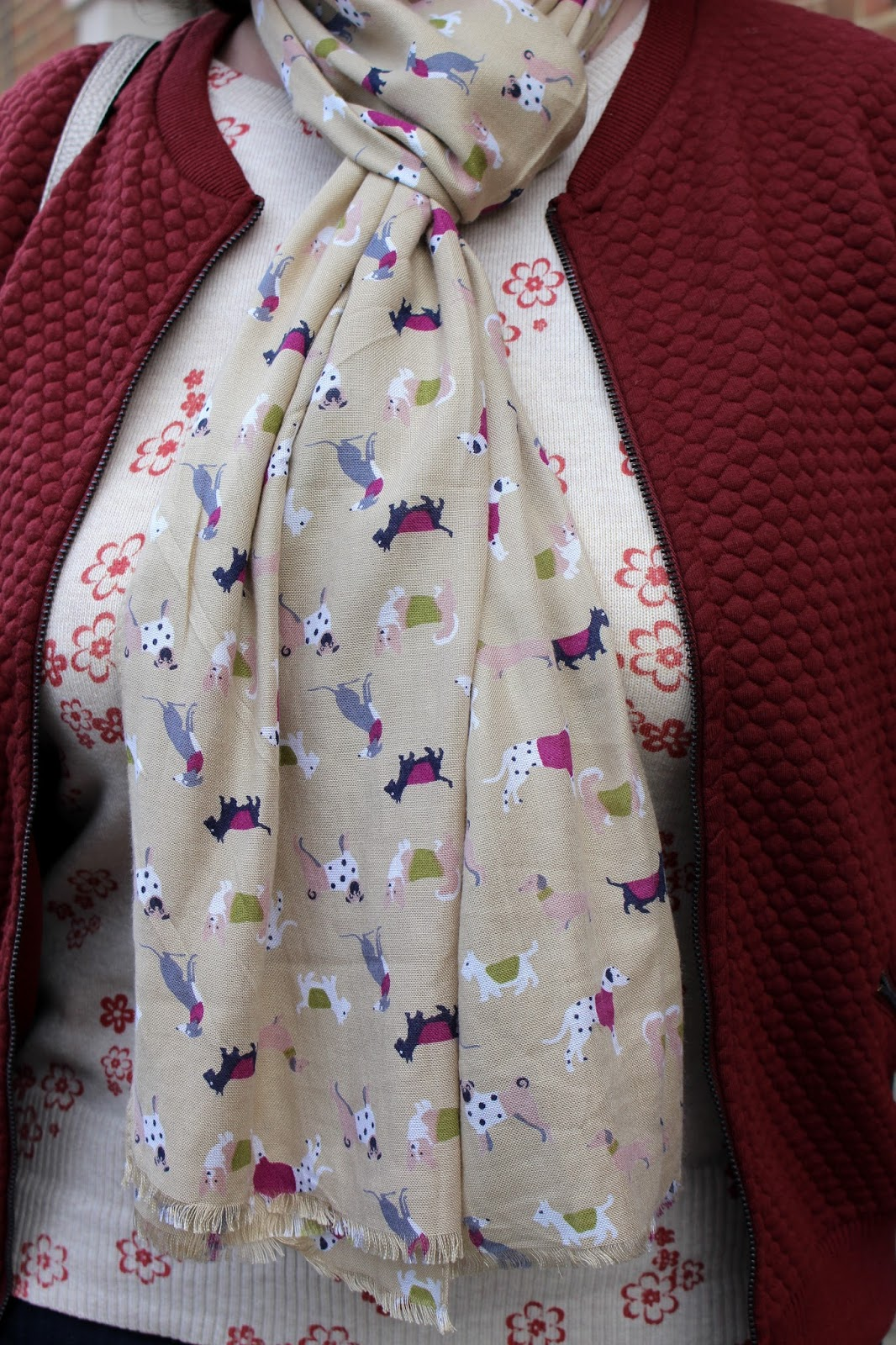 Close up of Quilted Bomber Jacket, Dog Print Scarf | Petite Silver Vixen