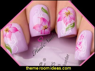 Nail Art Wraps Water Transfers Decals  Pink Flowers Orchid