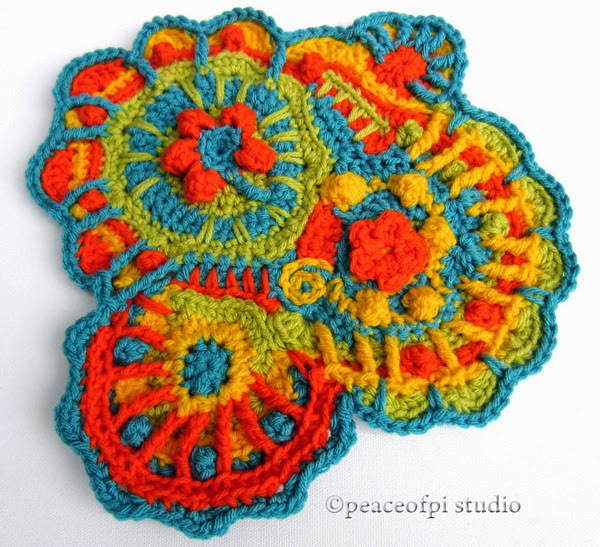 Peaceofpi Studio Colorful Freeform Crochet Scrumble