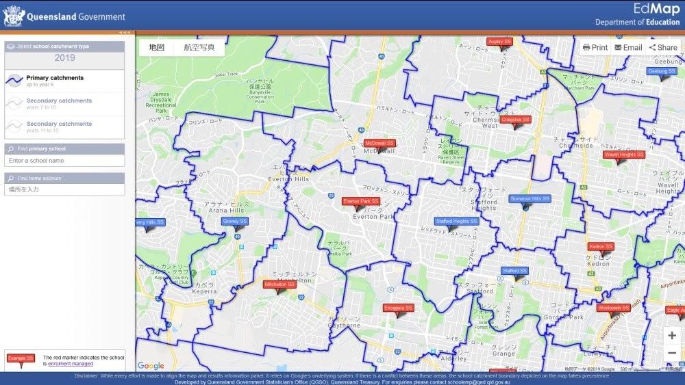 クイーンズランド州 School Catchment Map