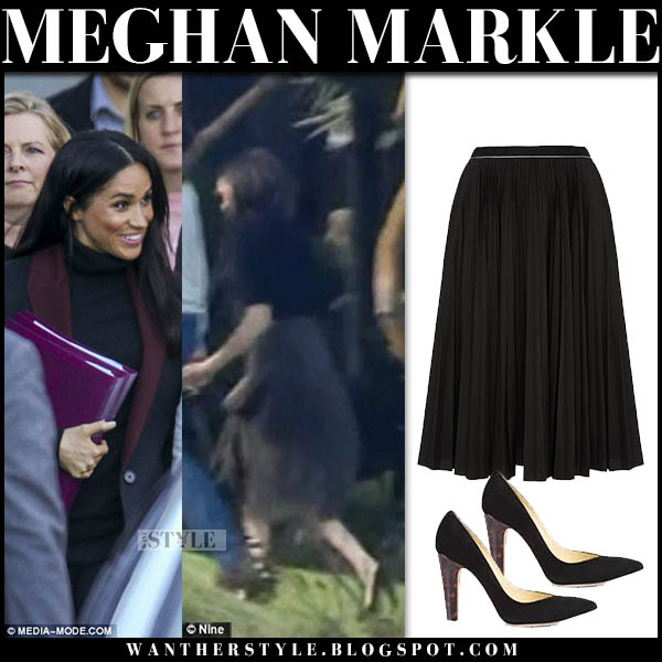 Meghan Markle in black coat and black pleated midi skirt royal tour australia october 15 style