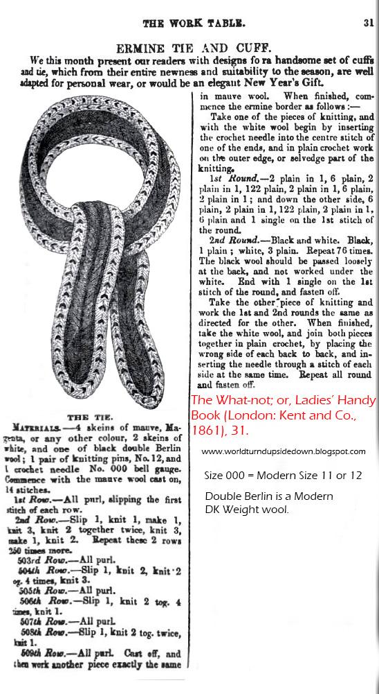 World Turn'd Upside Down: 1861 Ladies' Wool Tie Pattern