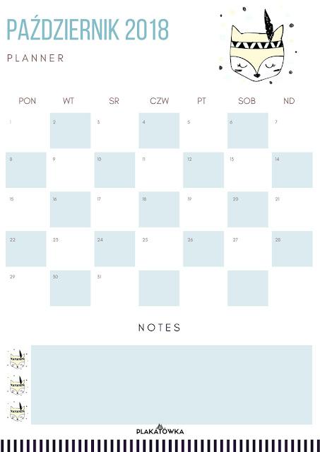 planner tygodniowy i miesięczny do druku- październik 2018