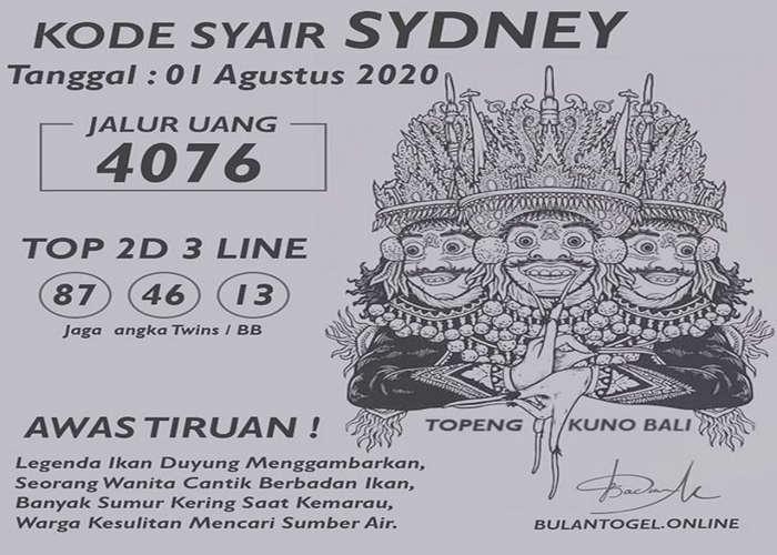 Kode syair Sydney Sabtu 1 Agustus 2020 161