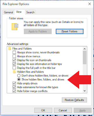 Show Hidden Files and Folders Option in the File Explorer