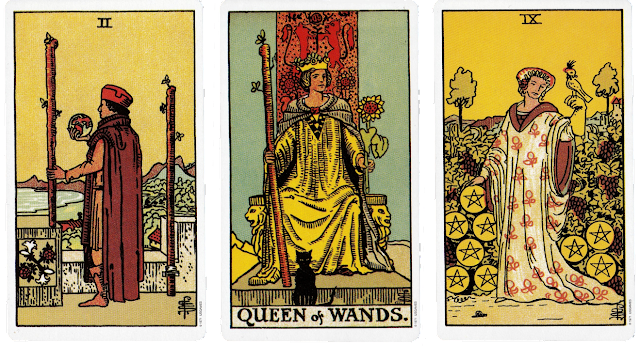 Original Rider Waite Tarot Two of Wands Queen of Wands Nine of Pentacles