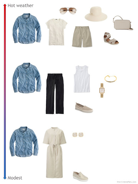 3 ways to style a chambray shirt from a travel capsule wardrobe