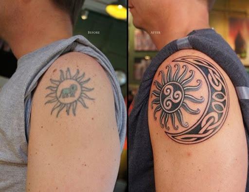 Uma inspiração tribal da meia-lua e sol são retratados em preto e cinza, tinta, com enfeites brancos neste tatuagem conjunto.