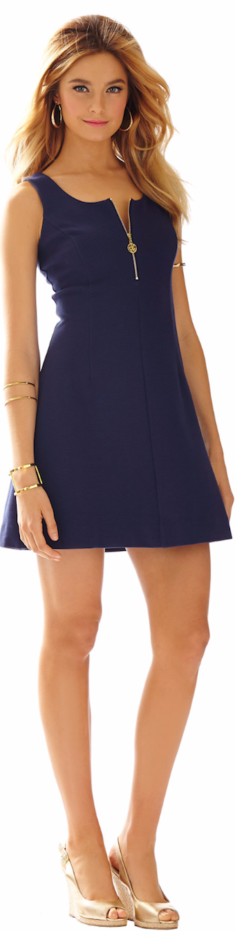 LILLY PULITZER NICOLLETTE FIT & FLARE ZIP FRONT DRESS NAVY