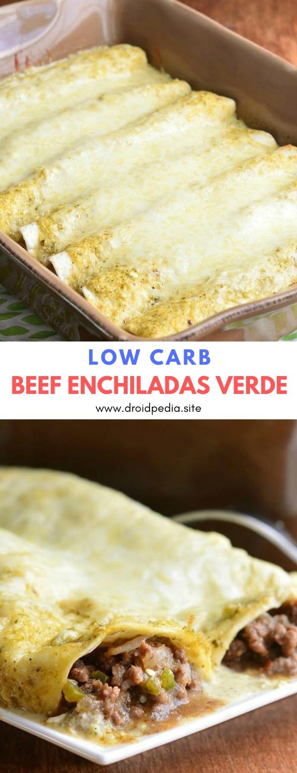 Low Carb Beef Enchiladas Verde #maincourse #lowcarb #beef #enchiladas #verde