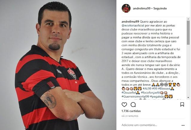 """André Lima escreve mensagem se despedindo do Vitória: """"Saio com minha divida paga"""" 2"""