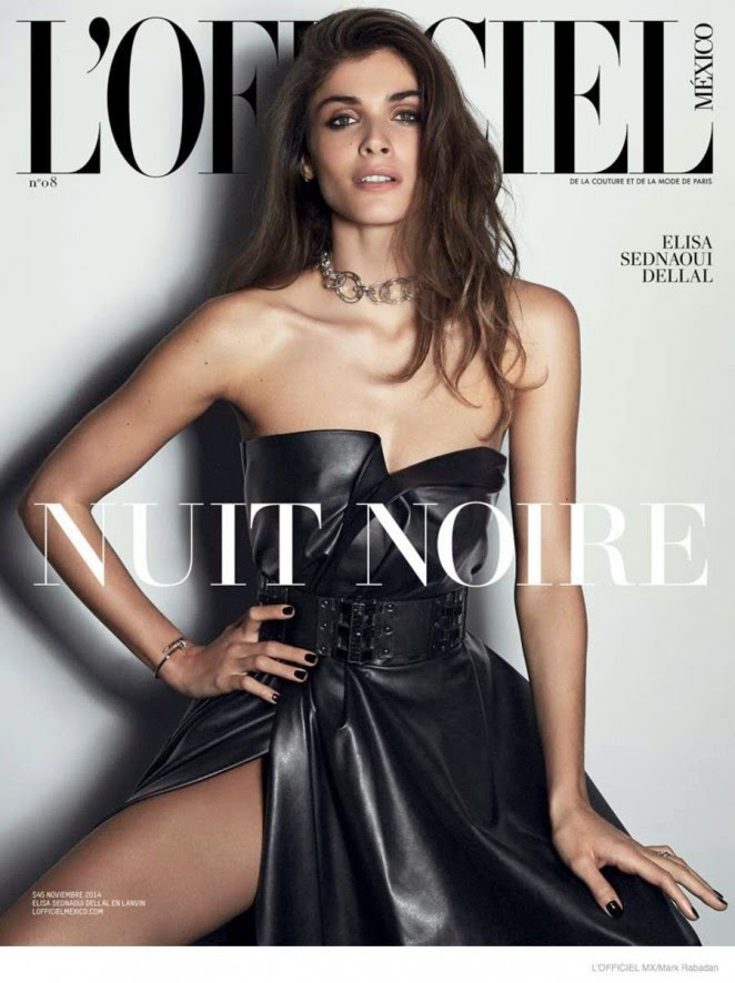 Elisa Sednaoui covers L'Officiel Mexico November 2014 in a leather dress