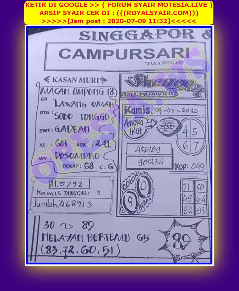 Kode syair Singapore Kamis 9 Juli 2020 38