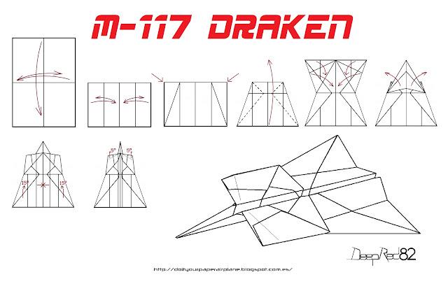 Infografía avión de papel M-117 Draken