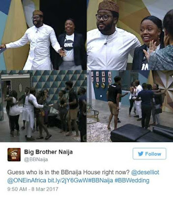 #BBNaija: Desmond Elliot Visits Housemates as Tboss Celebrates Birthday