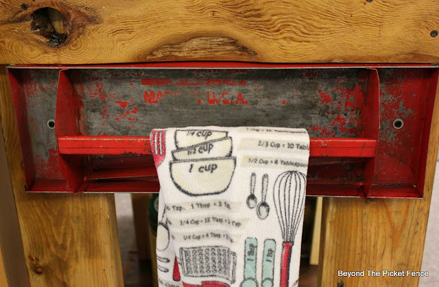 toolbox, repurposed, towel holder, kitchen island,  http://bec4-beyondthepicketfence.blogspot.com/2016/02/reclaimed-wood-island.html