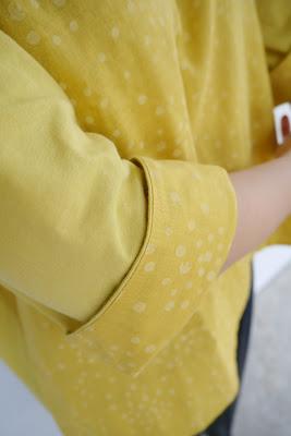 有機棉拼接日本印花布的扭扭上衣
