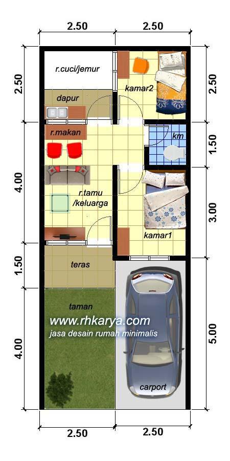 Denah Type 30 : denah, Denah, Rumah, Minimalis, Sederhana