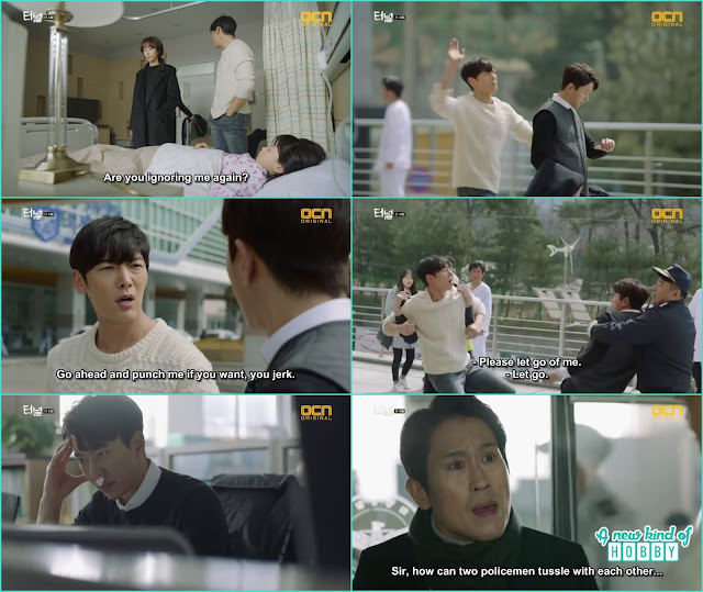 outside the hospital gwang ho and sun jae fight with each other - Tunnel: Episode 4