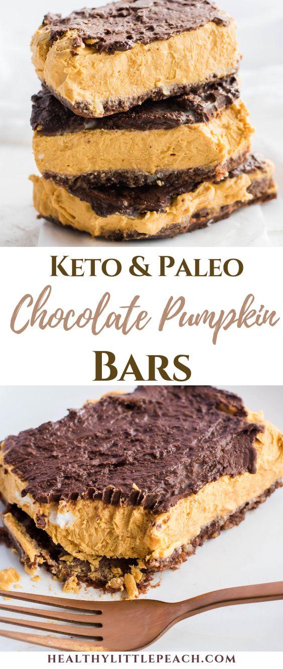 Keto Dark Chocolate Pumpkin Bars