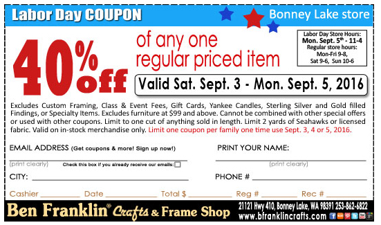 Ben franklin crafts and frame shop labor day sale in for Ben franklin craft store coupons