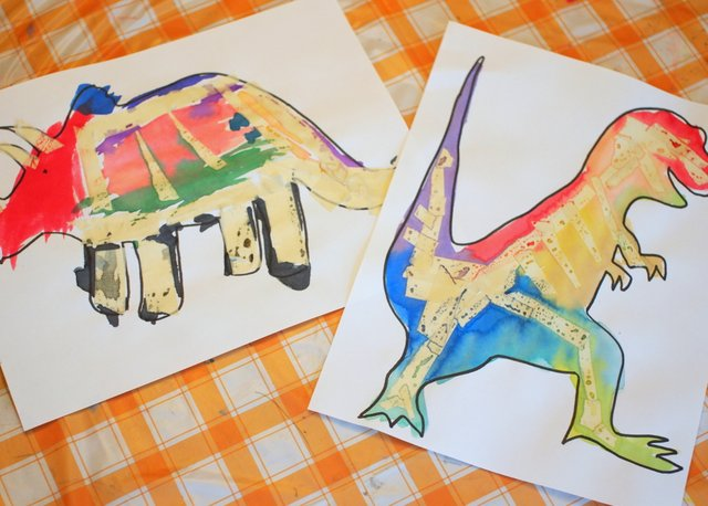tape resist dinosaur bone paintings- great stem and art project for kids