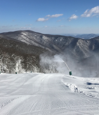 snow guns, Wintergreen Resort, January 2017, sunny day, ski the south, ski the east