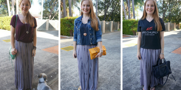 layering a maxi dress with a tee 3 outfit ideas for spring | awayfromblue