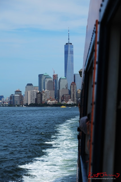 View of One World Trade Center from the Staten Island Ferry, NYNY.  Travel photography by Kent Johnson.