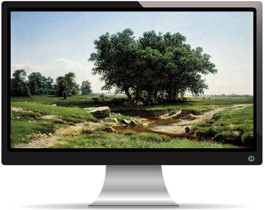 Paysage avec des Arbres dans le Pré - Fond d'Écran en Ultra HD 4k