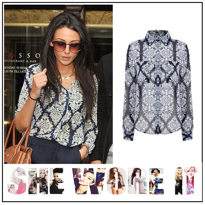 Michelle Keegan,TFNC, Navy Blue, White, Sheer, Baroque Print, Shirt, Blouse, Structured Collar, Button Detail,