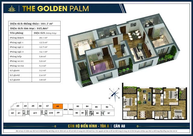 Mặt bằng căn A8 tòa A chung cư The Golden Palm