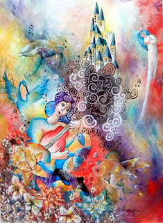 https://www.latelierdannapia.com/ il chitarrista e il suo mondo tartaruga marina araba fenice pesci chitarra musica angeli quadro acrilico su tela, onirico poetico surrealista tableau surrealiste onirique guitariste poissons fleurs tortue de mer surreal art chagall