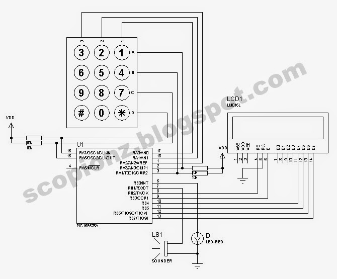 Digital Combination Lock Circuit With Keypad And Lcd